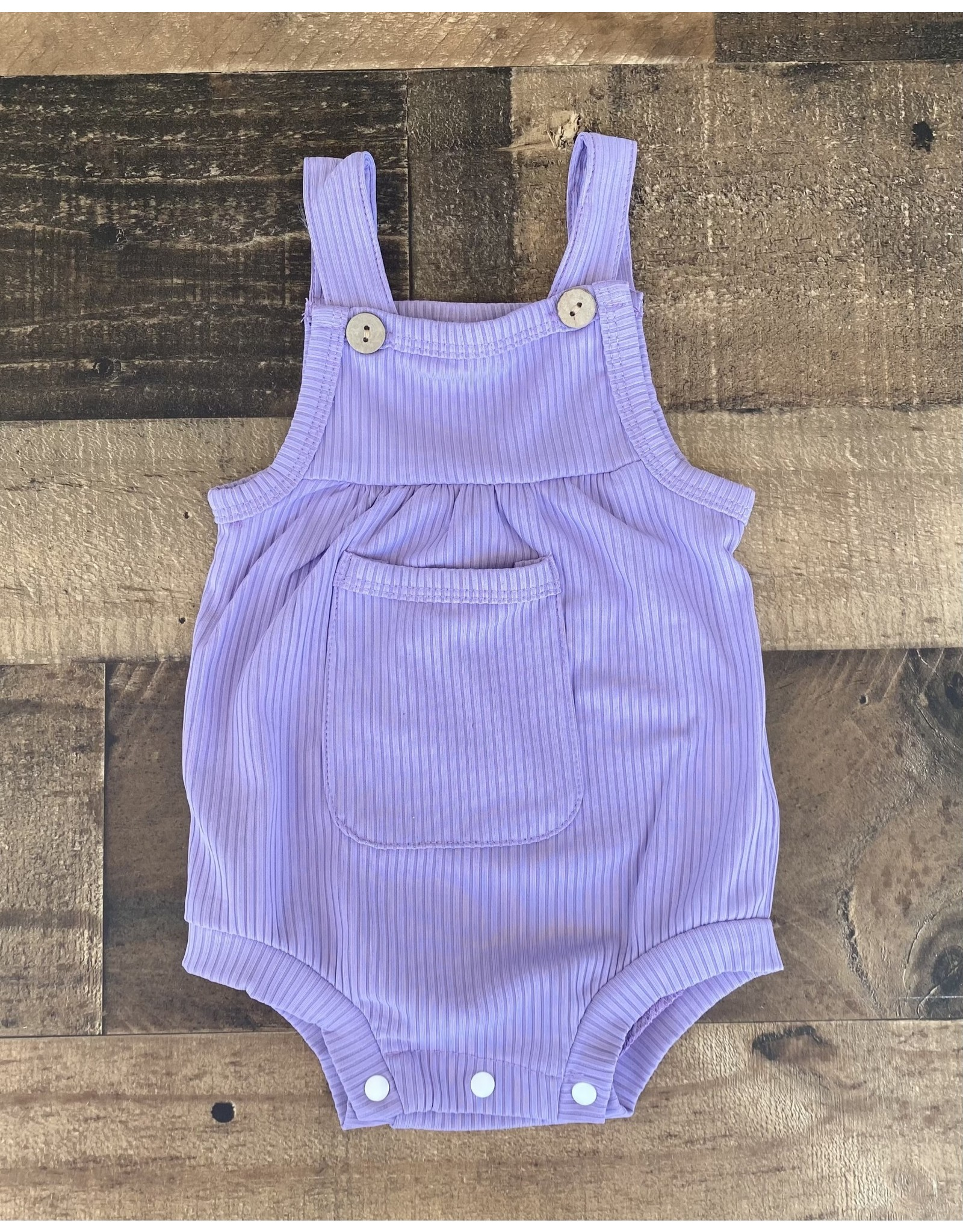 loved by Jade Presley loved by jade presley- Dylan Ribbed Pocket Button Romper: Lilac