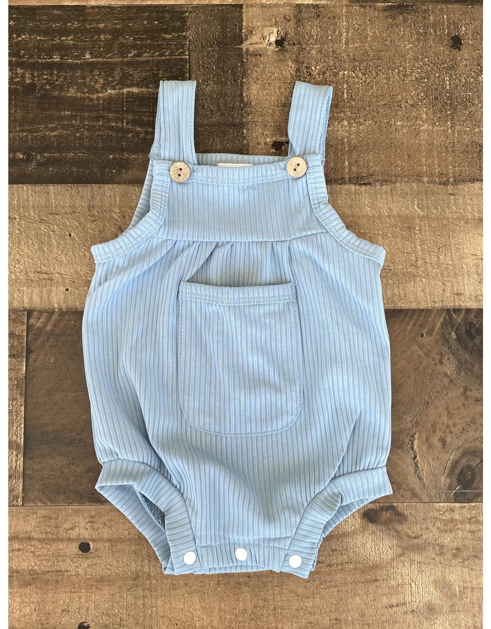 loved by Jade Presley loved by jade presley- Dylan Ribbed Pocket Button Romper: Blue
