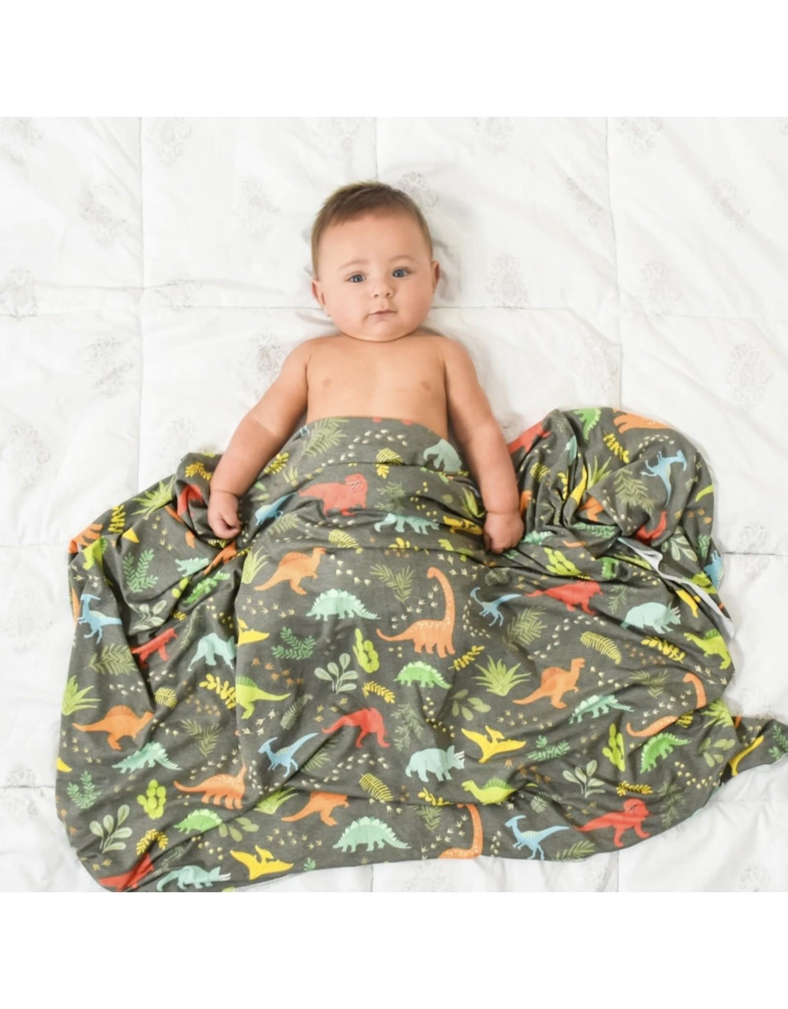 Village Baby Village Baby- Extra Soft Stretchy Knit Swaddle Blanket: Jurassic Tracks