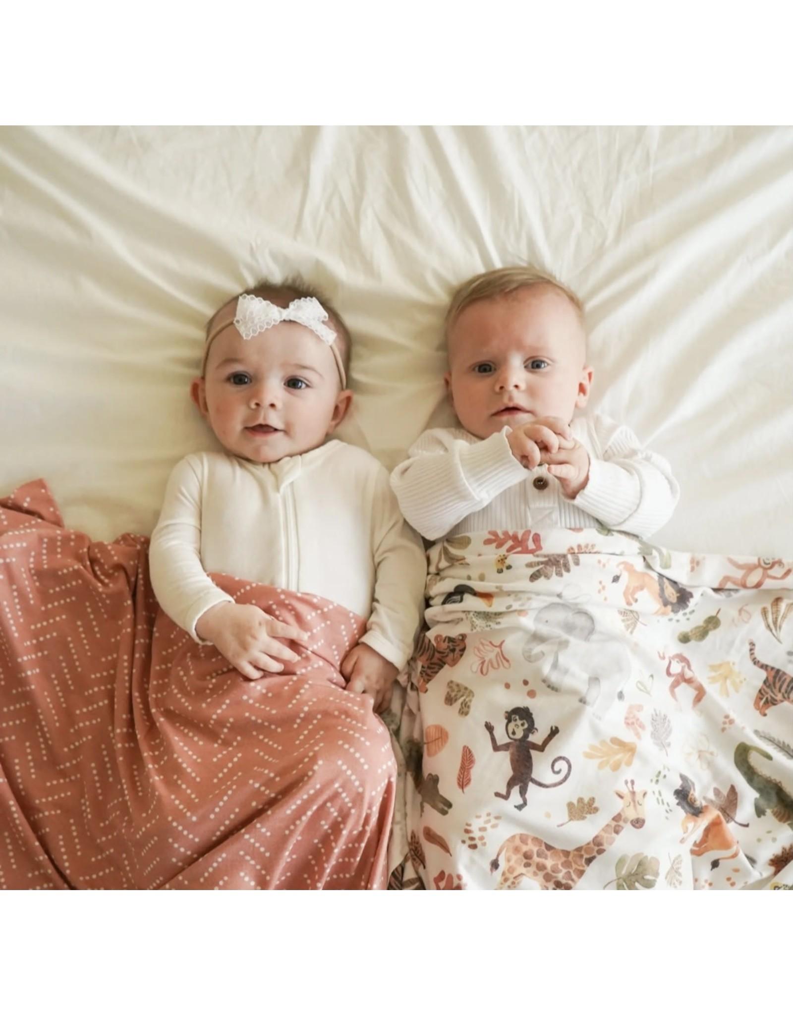 Village Baby Village Baby- Extra Soft Stretchy Knit Swaddle Blanket: Wild Safari