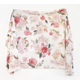 Village Baby Village Baby- Extra Soft Stretchy Knit Swaddle Blanket: Painted Petals