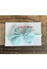 In Awe - Seafoam Mini Ruffle Bow on Nylon Headband