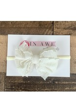 In Awe - Ivory Mini Ruffle Bow on Nylon Headband