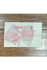 In Awe - Pink Parfait Mini Ruffle Bow on Nylon Headband