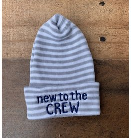ILYBEAN Ilybean- 'New to the Crew' grey/wht stripe nursery beanie