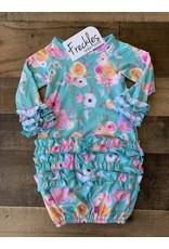 Teal Floral Newborn Gown