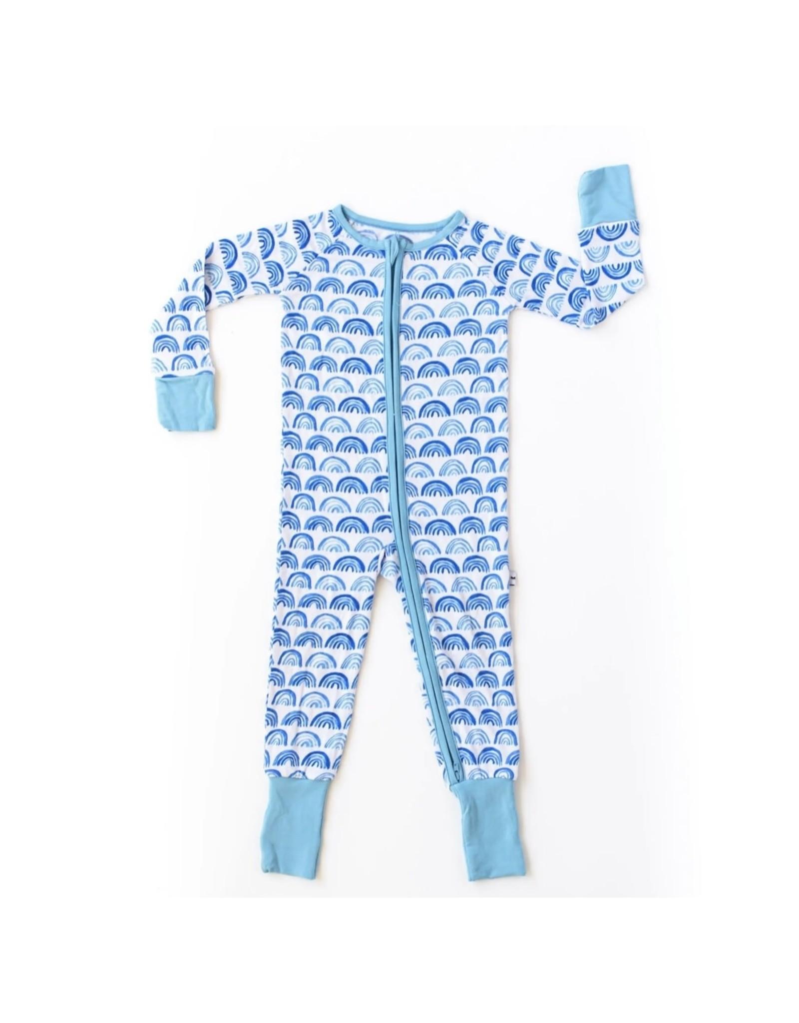 Little Sleepies Little Sleepies- Blue Rainbows Convertible Romper/Sleeper