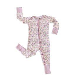 Little Sleepies Little Sleepies- Pastel Rainbows Convertible Romper/Sleeper