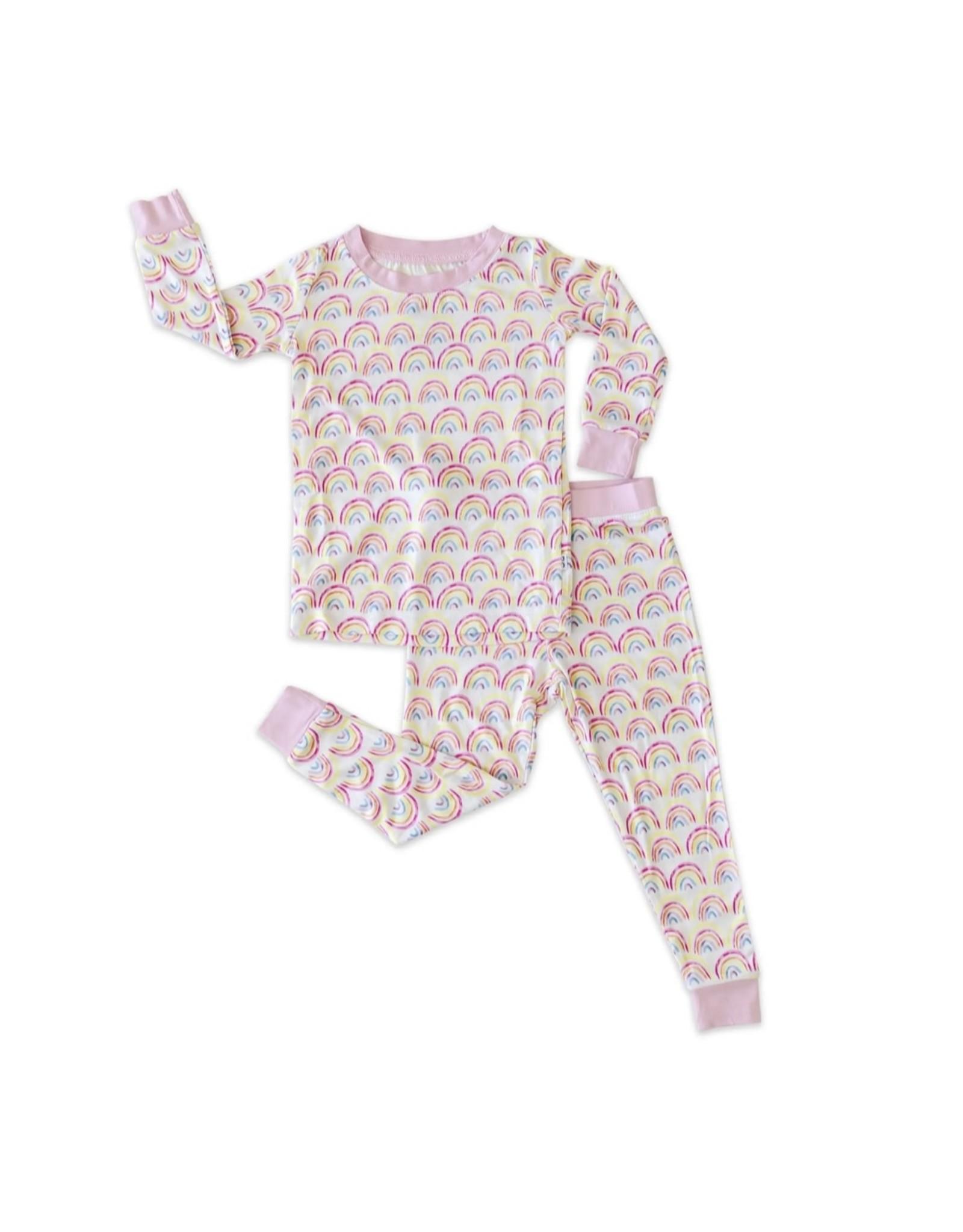 Little Sleepies Little Sleepies- Pastel Rainbows Two-Piece Bamboo Pajama Set