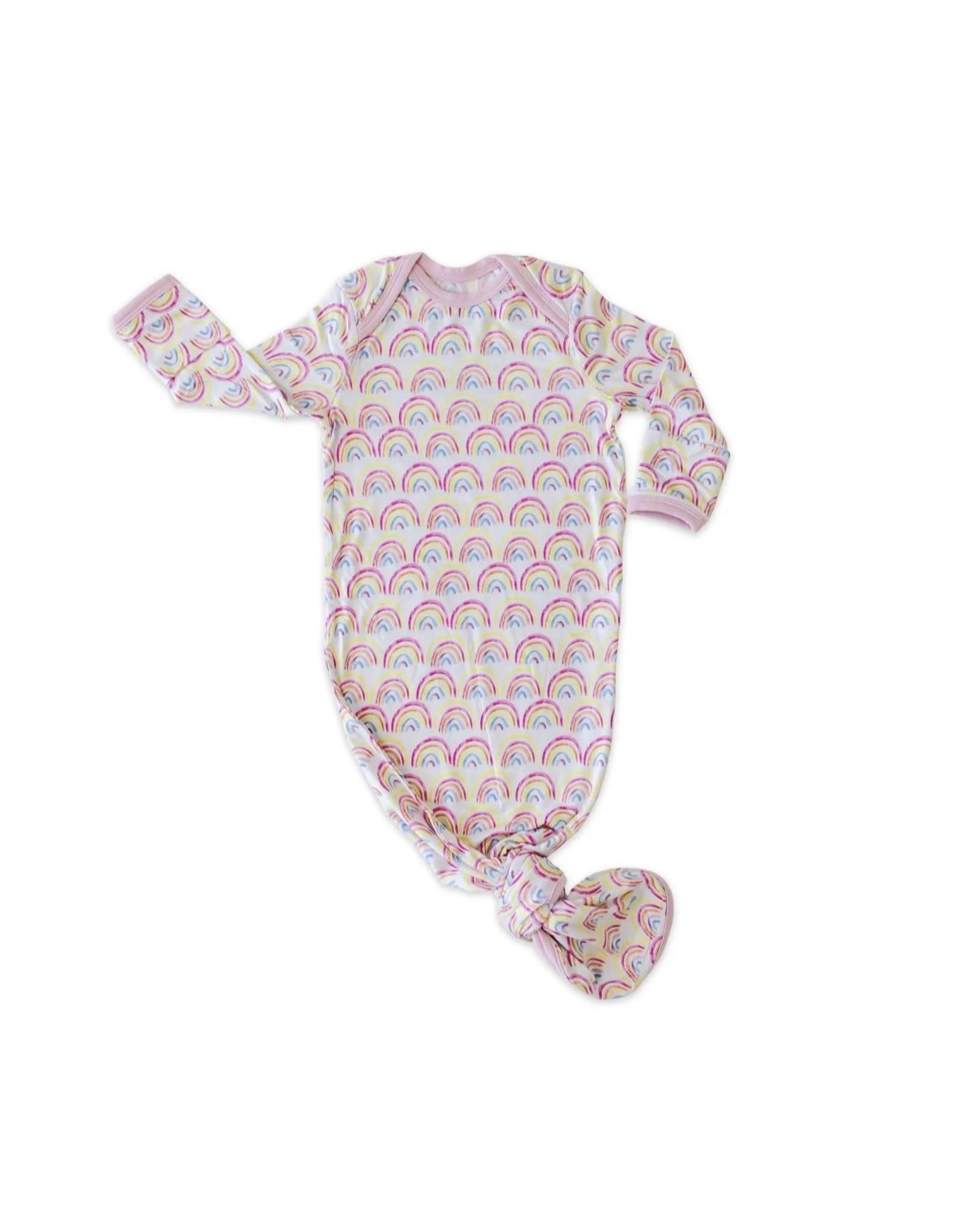 Little Sleepies Little Sleepies- Pastel Rainbows Bamboo Knotted Gown