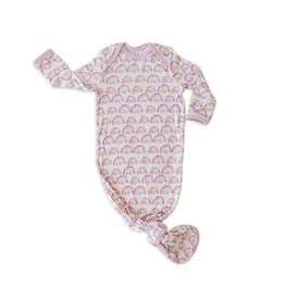 Little Sleepies Little Sleepies- Pastel Rainbows Bamboo Knotted Gown