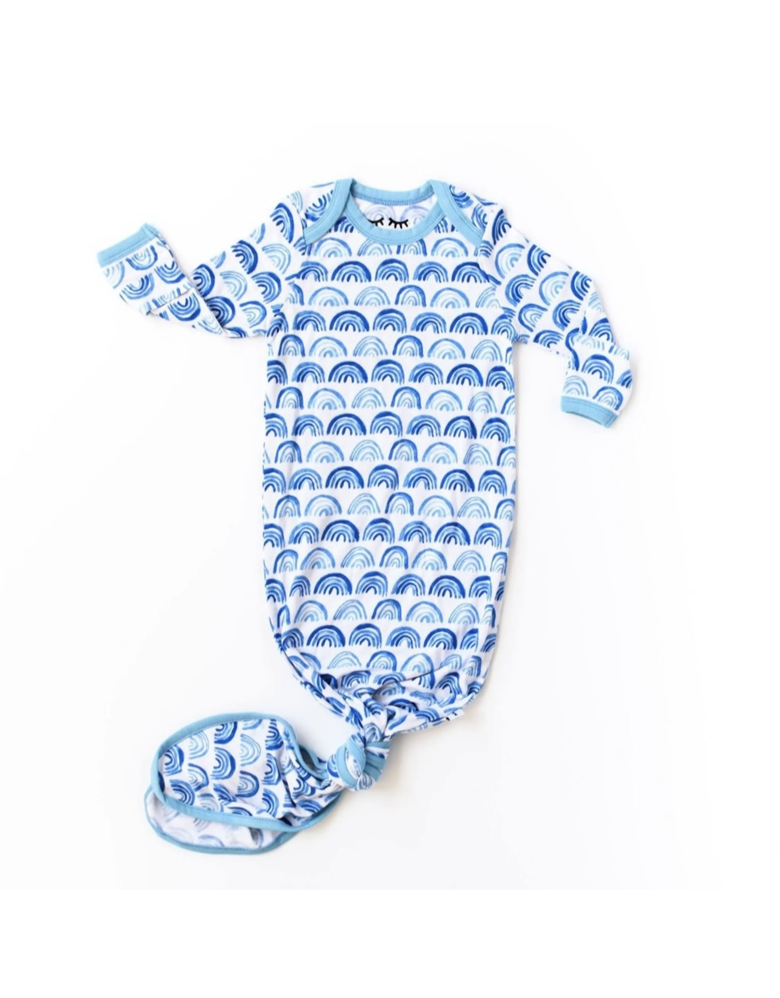 Little Sleepies Little Sleepies- Blue Rainbows Bamboo Knotted Gown