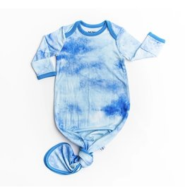 Little Sleepies Little Sleepies- Blue Watercolor Bamboo Knotted Gown