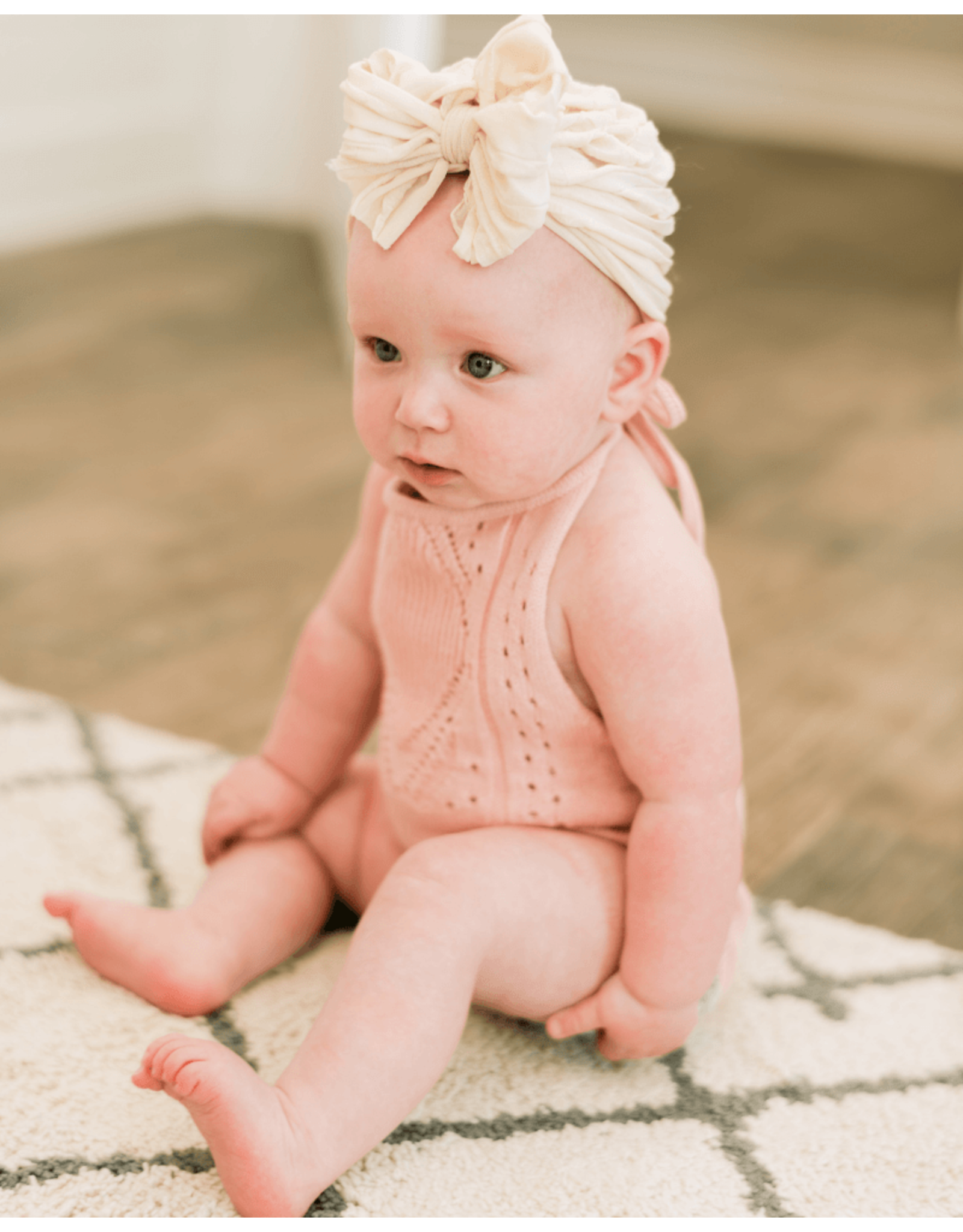 Baileys Blossoms Bailey's Blossoms- Drake Halter Romper: Candy Pink Crochet