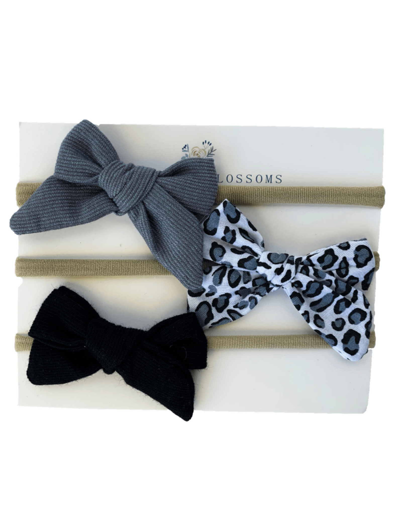 Baileys Blossoms Bailey's Blossoms- Breeanne Bow Headband Variety Pack: Gray Leopard