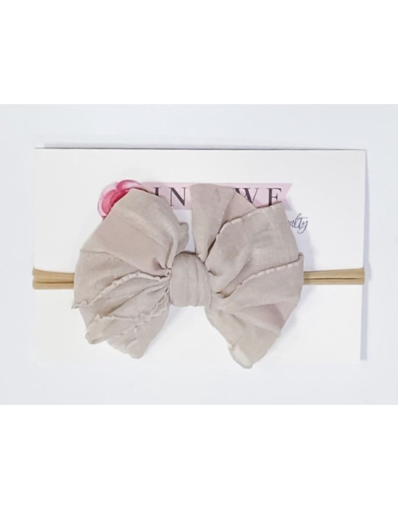 In Awe - Champagne Mini Ruffle Bow on Nylon Headband