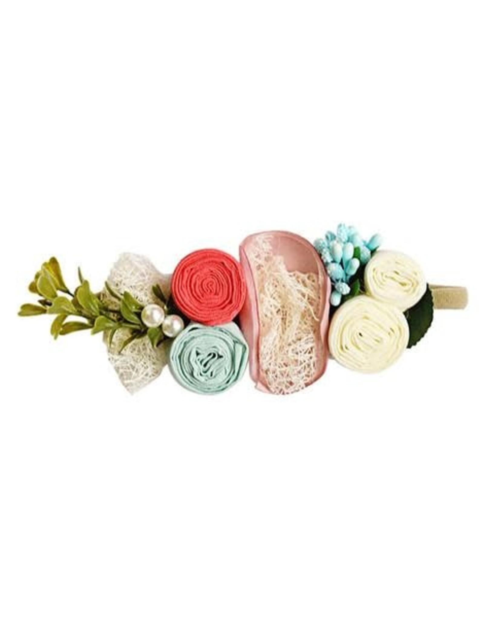 Baileys Blossoms Bailey's Blossoms- Mauve, Coral, Aqua & Ivory Floral Stretch Headband