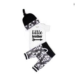 Gigi & Max Gigi & Max- Little Brother Black & Gray Triangle S/S Set