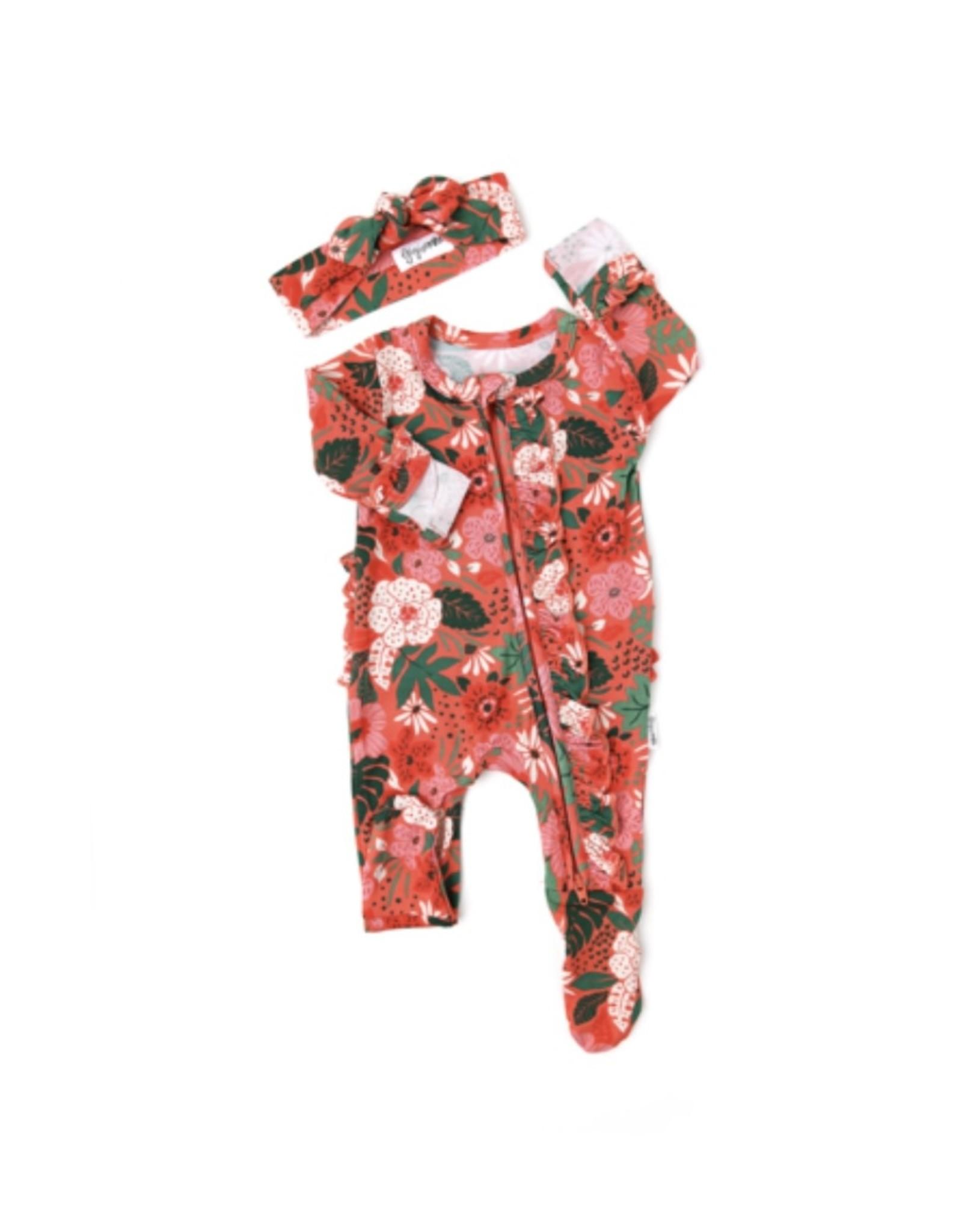 Gigi & Max Gigi & Max- Leilani Ruffle Newborn Zipper Footie & Headband Set