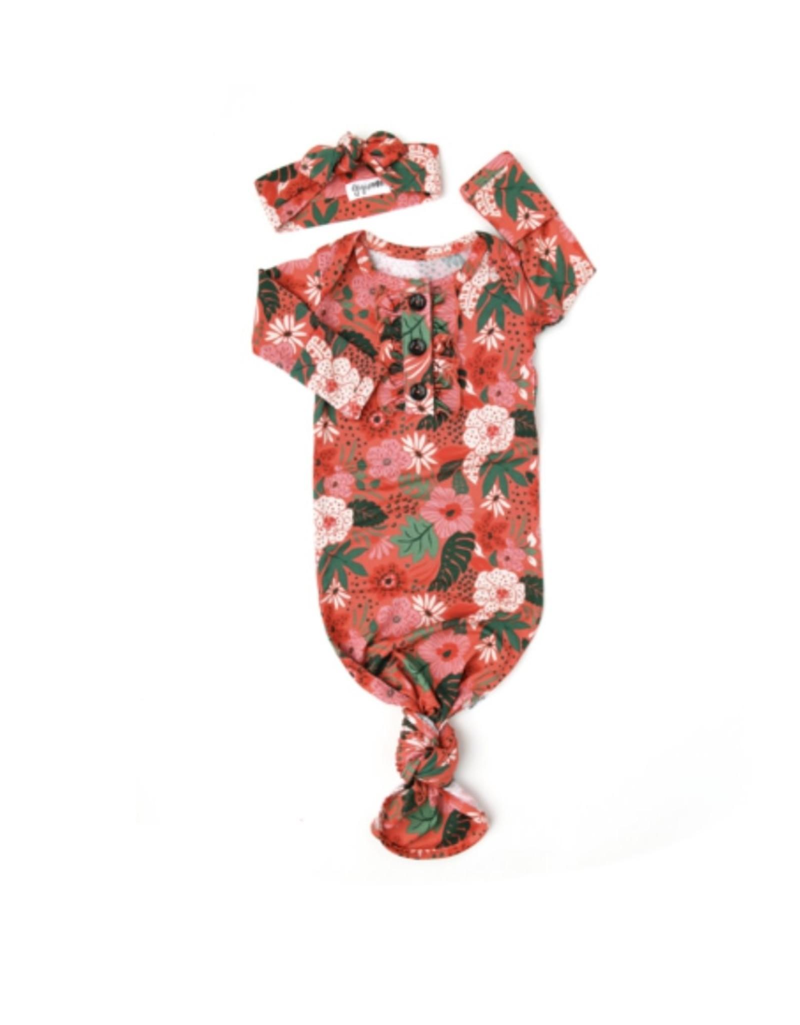 Gigi & Max- Leilani Floral Ruffle Gown & Headband Set