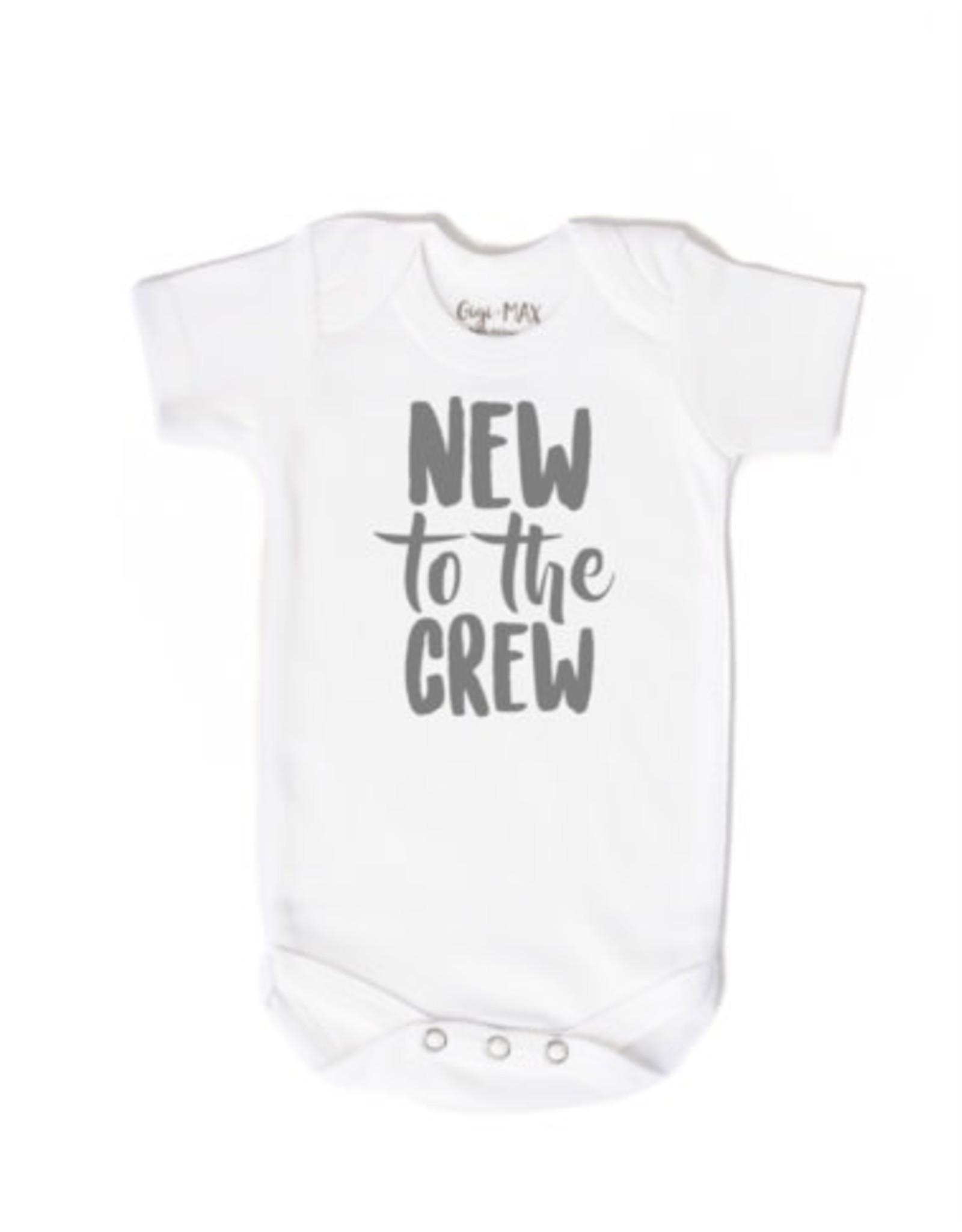 Gigi & Max Gigi & Max- New to the Crew S/S Newborn Onesie: Gray
