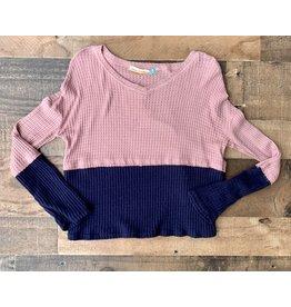 Vintage Havana Vintage Havana - Blush & Navy Colorblock Knit Sweater