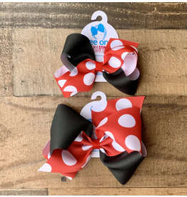 Wee Ones - Red/Black Two Toned Dot Bow -