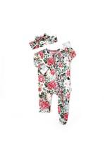 Gigi & Max Gigi & Max- Palmer Floral Ruffle Newborn Zipper Footie & Headband Set