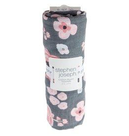 stephen joseph Stephen Joseph- Charcoal Flower Cotton Muslin Blanket