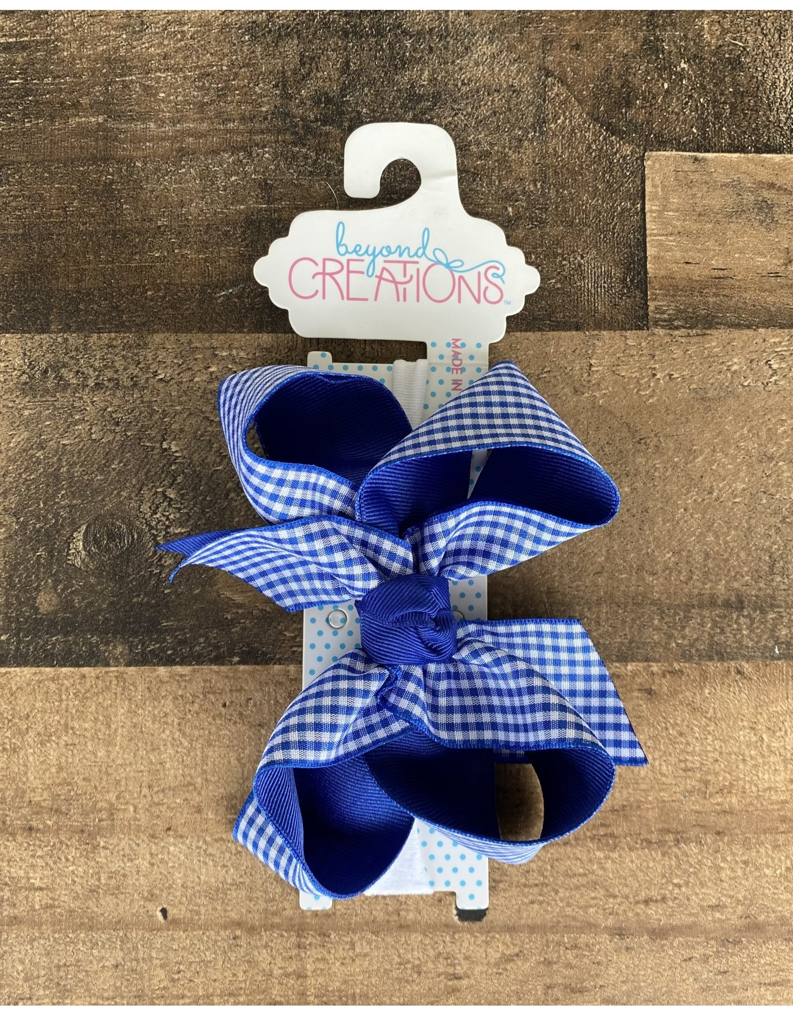 "Beyond Creations Beyond Creations- 5.5"" XL Gingham Bow on 1/4"" headband"