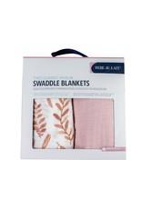 Bebe Au Lait Bebe Au Lait- Pink Leaves & Cotton Candy Classic Muslin Blanket Set