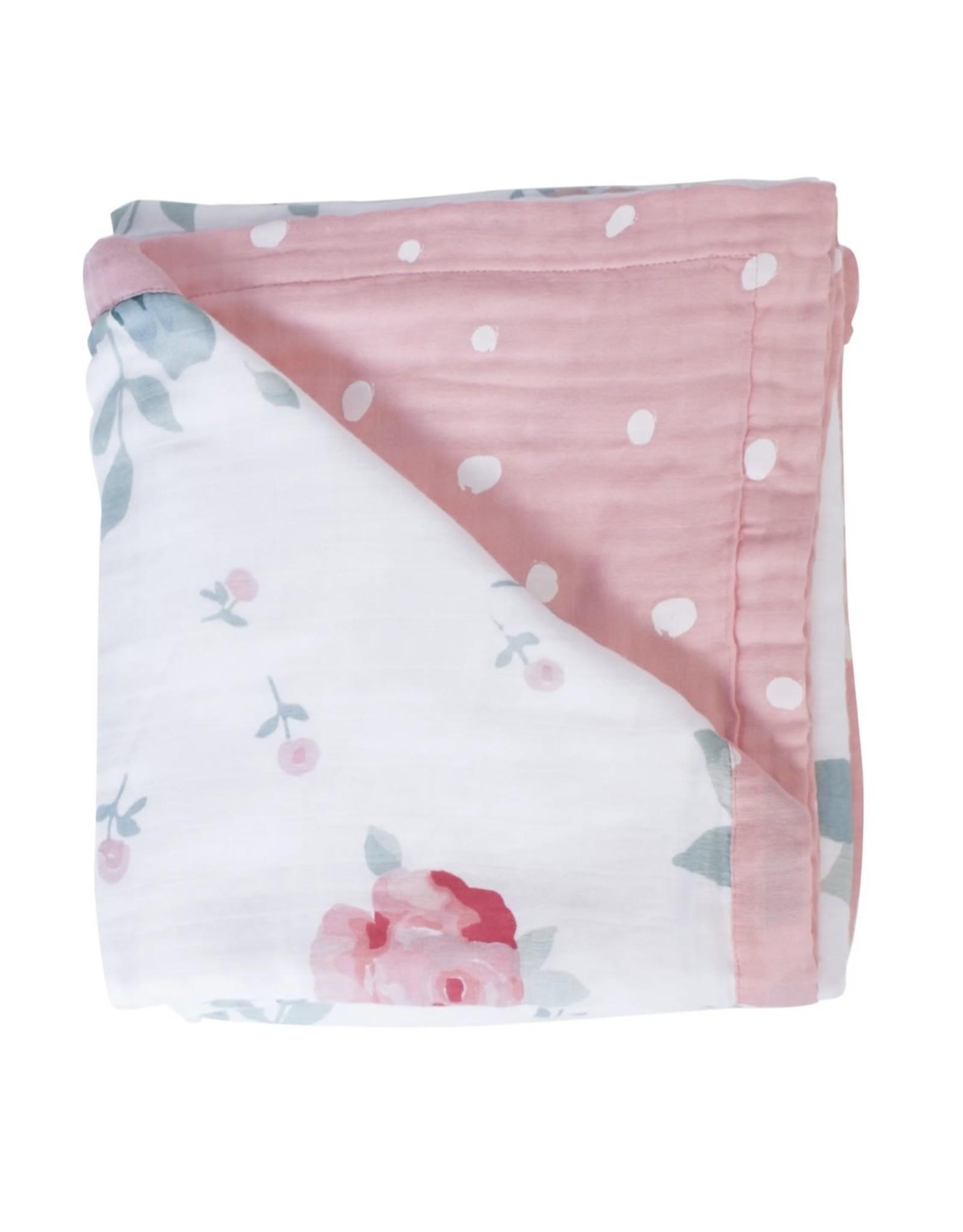 Bebe Au Lait Bebe Au Lait- Rosy & Dewdrops Oh-So-Soft Muslin Snuggle Blanket