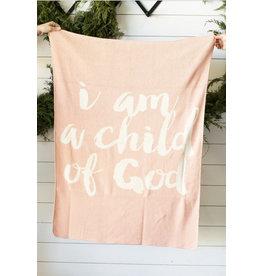 "Modern Burlap Modern Burlap- I am a Child of God 30"" x 40"" Throw Blanket: Cameo"
