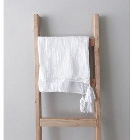"Modern Burlap Modern Burlap - Organic Cotton Muslin XL 50x70"" Blanket White Tassel"
