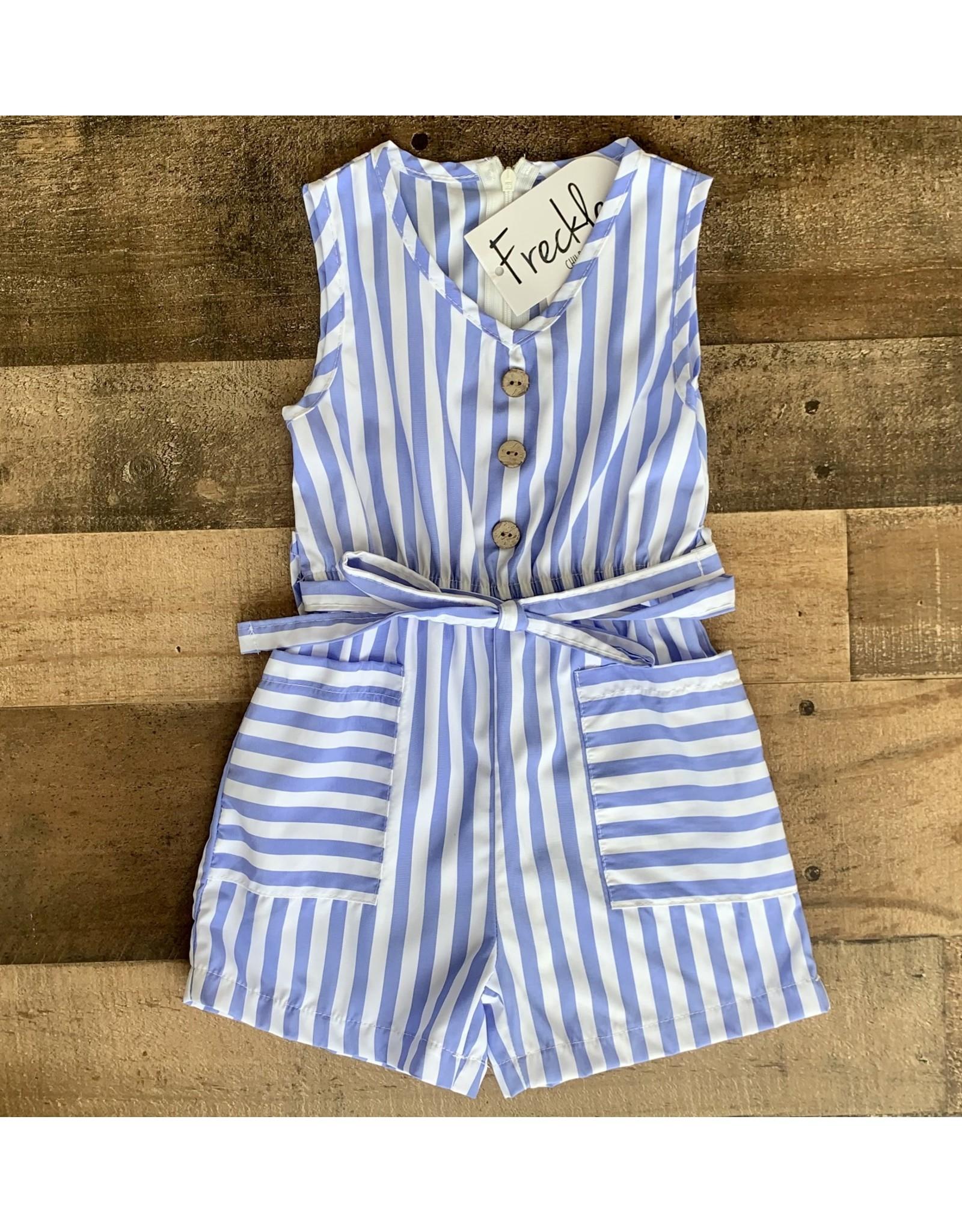Blue & White Stripe Button Tie Romper