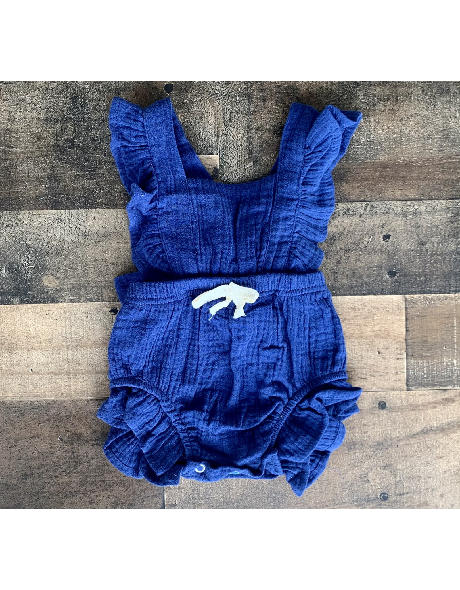 April Ruffle Bow Front Romper: Navy