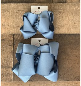 OS- Antique Blue Stacked Grosgrain Bow