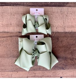OS- Moss Stacked Grosgrain Bow