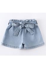 Light Wash Denim Belted Shorts