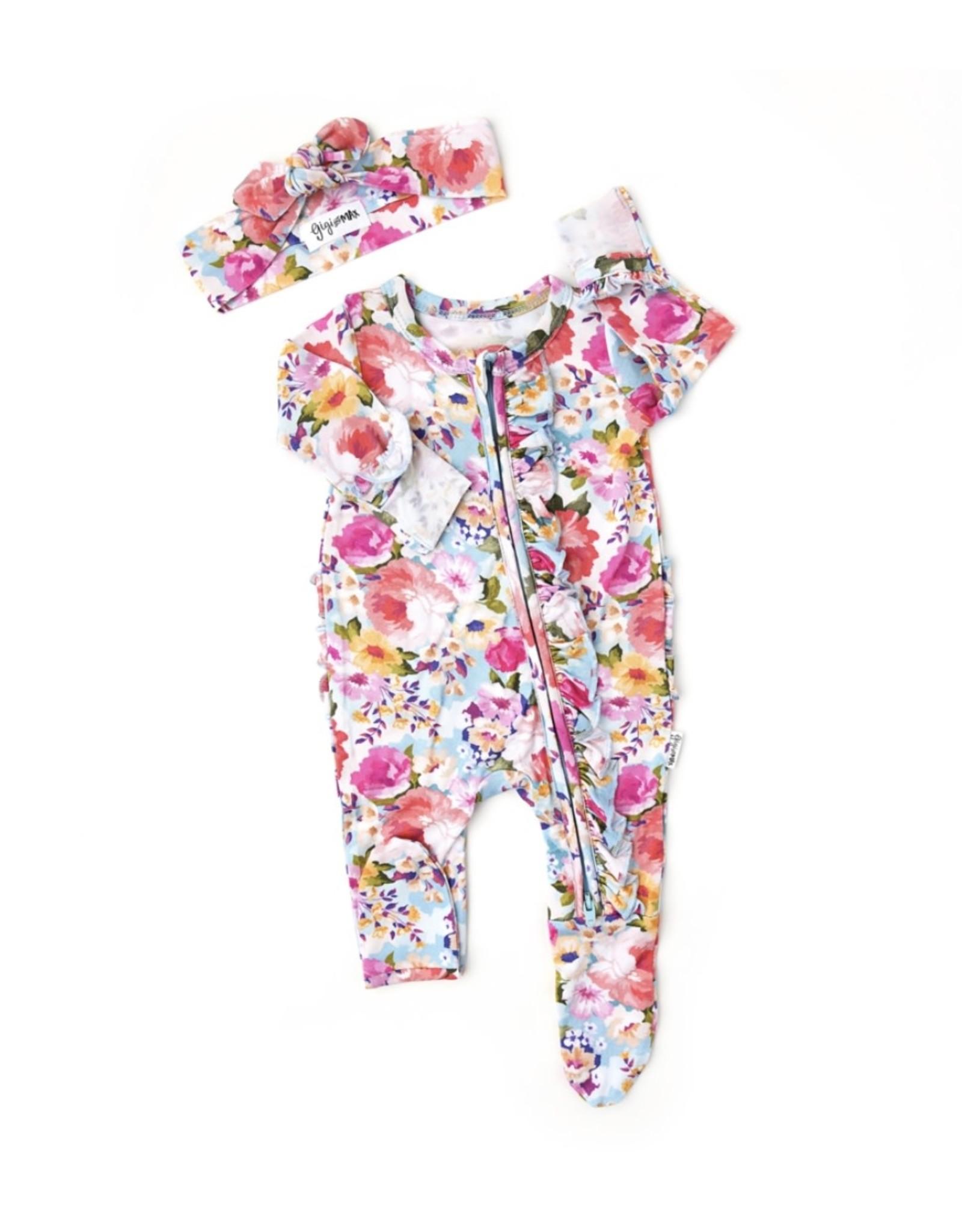 Gigi & Max Gigi & Max- Brooke Floral Ruffle Newborn Zipper Footie & Headband Set