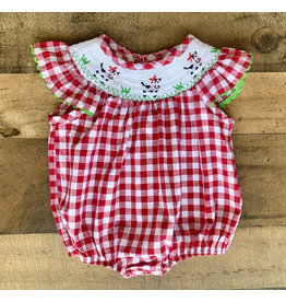 Red Gingham Cow Smocked Bubble