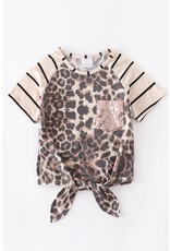 Leopard Stripe Sequin Tie Shirt