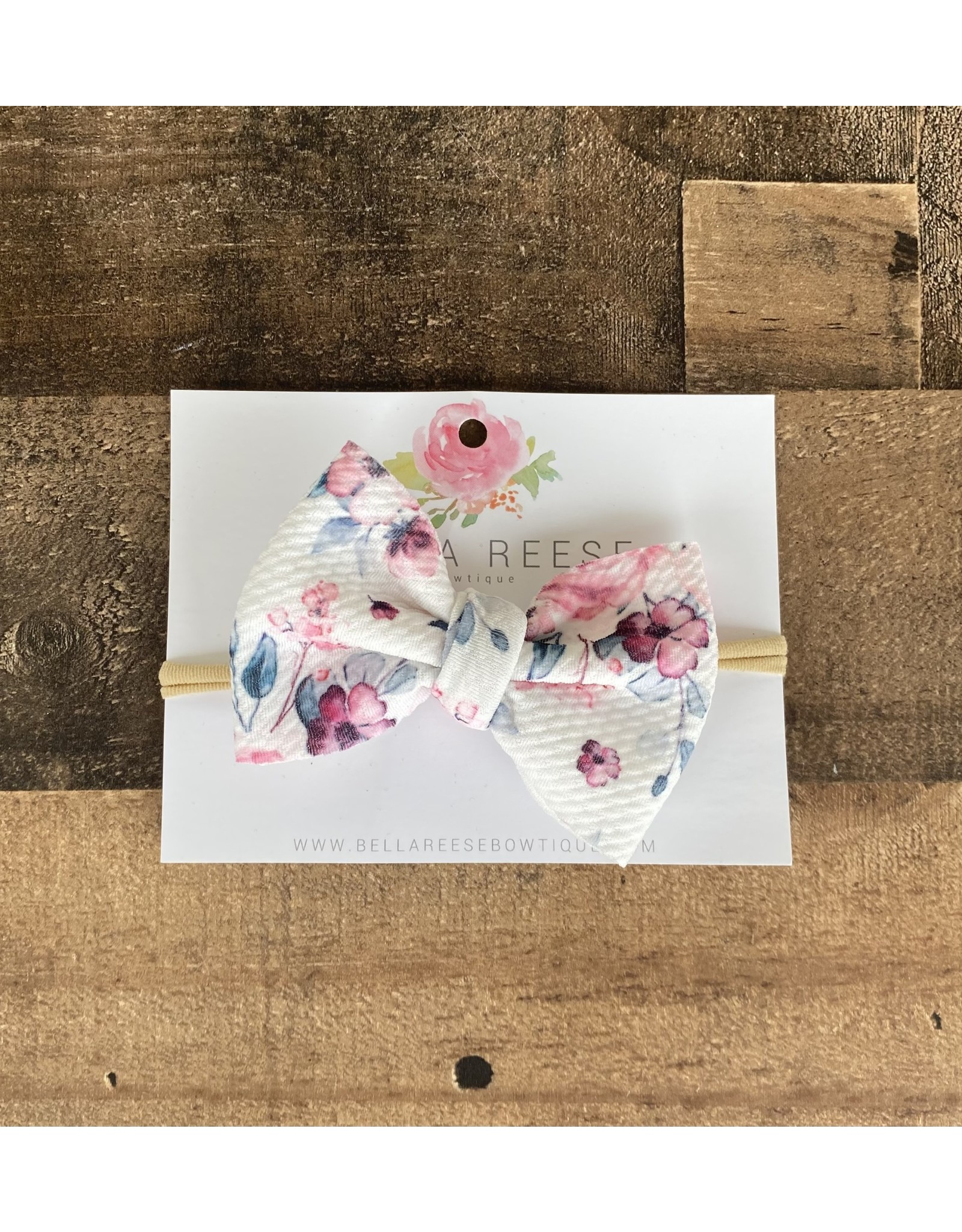 """Bella Reese- 4"""" Fabric Bow on Nude Nylon Watercolor Floral"""