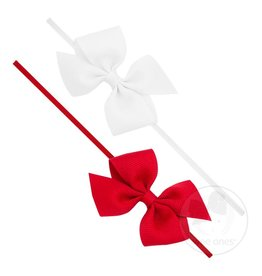 Wee Ones- Two Loop Bows Set White/ Red 0-6M