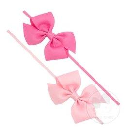 Wee Ones- Two Loop Bows Set Hot Pink/ Light Pink 0-6M