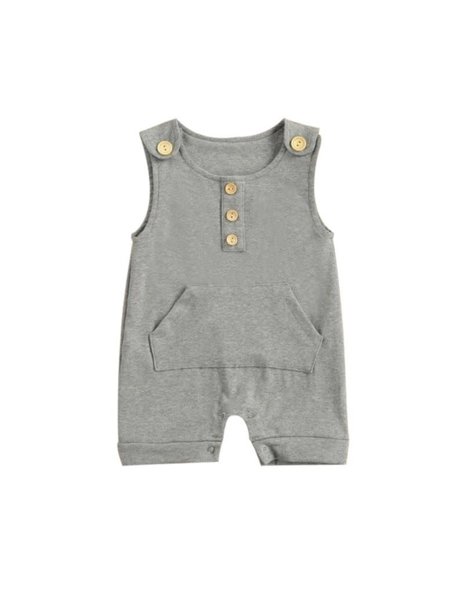 loved by Jade Presley loved by jade presley - Jase Pocket Button Romper: Grey