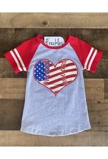 Flag Heart Baseball Tee