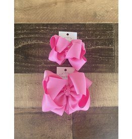 OS- Oinky Pink Stacked Grosgrain Bow