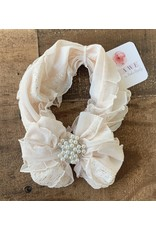In Awe - Blush Gold Shimmer Headband with Pearl