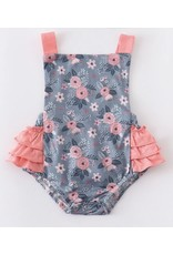 Coral Grey Floral Ruffle Romper